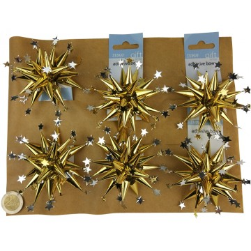 6PC SILVER/GOLD STAR BOW