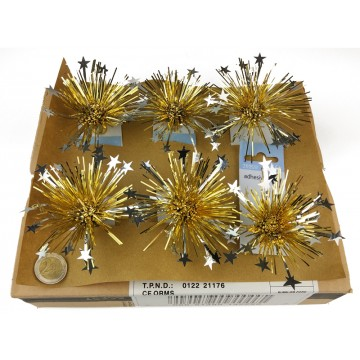 6PC SILVER/GOLD STAR FIREWORK BOW