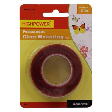 18MM*2M PERMANENT CLEAR MOUNTING TAPE