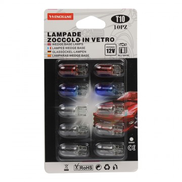 10PC T10 12V WEDGE BASE LAMPS